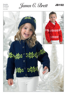 Children's Cardigan, Sweater and Hat in James C. Brett Top Value DK - JB192