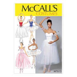 McCall's Misses' Ballet Costumes with Fitted, Boned Bodice and Skirt and Sleeve Variations M7615 - Sewing Pattern