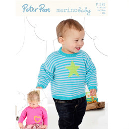 Sweaters with Heart or Star Motif in Peter Pan Merino Baby DK - 1182