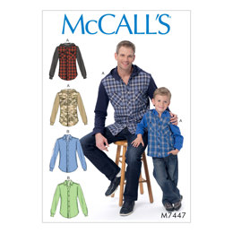 McCall's Men's/Boys' Button-Down Shirts with Hood or Collar M7447 - Sewing Pattern