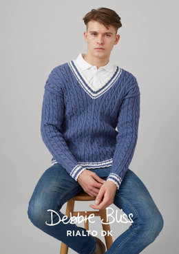 """Kentwell Jumper"" - Jumper Knitting Pattern For Men in Debbie Bliss Rialto DK - DB180"