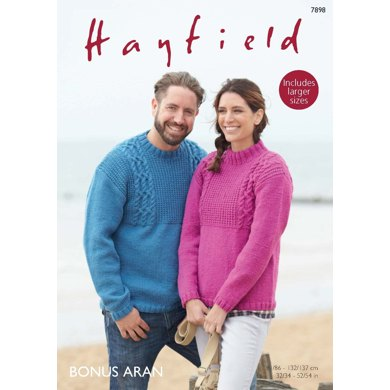 Round Neck and Stand Up Neck Sweaters in Hayfield Bonus Aran - 7898 - Downloadable PDF