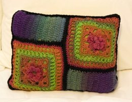 Stained Glass Floral Granny Square Pillow in Plymouth Yarn Gina - F700