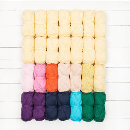 Rico Creative Cotton Aran Women's Weekly Blanket KAL 2015 28 Ball Color Pack