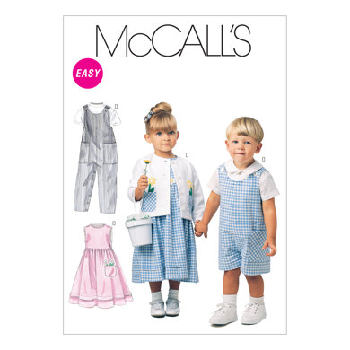 McCall's Toddlers' Rompers In 2 Lengths, Dress, Jacket and Shirt M6304 - Sewing Pattern