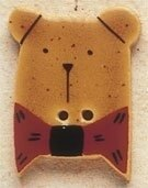 Mill Hill Button 43001 - Gold Teddy Bear with Red Bow Tie