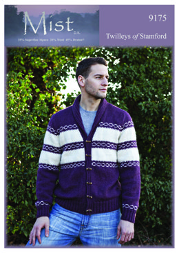 Knitted Men's Jacket in Twilleys Mist DK - 9175