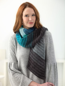 Shaded Diagonal Scarf in Lion Brand Mandala - L60379 - Downloadable PDF