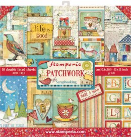 """Stamperia Intl Stamperia Double-Sided Paper Pad 12""""X12"""" 10/Pkg - Patchwork, 10 Designs/1 Each"""