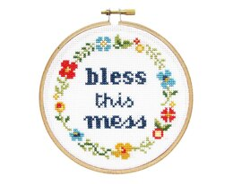 The Stranded Stitch Bless This Mess Cross Stitch Kit - 5 inches