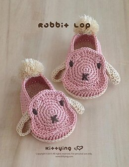 Bunny Rabbit Lop Baby Booties by Kittying Crochet Pattern
