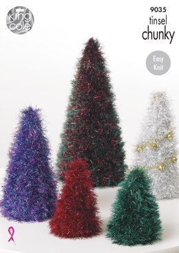Tinsel Christmas Trees & Baubles in King Cole Tinsel Chunky - 9035