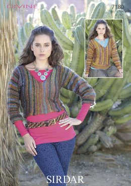 V-Neck ¾ Sleeve & Long Sleeve Sweater in Sirdar Divine DK - 7180