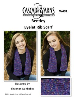 Eyelet Rib Scarf in Cascade Yarns Bentley- W491 - Downloadable PDF