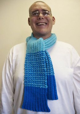 Special Olympics Rib Knit Scarf with Stripes in Red Heart Super Saver Economy Solids - LW2369