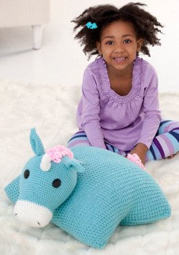 Unicorn Pillow Pal in Red Heart Super Saver Economy Solids - LW2509