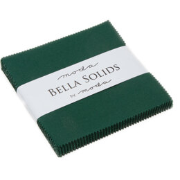 Moda Fabrics Bella Solids 5in Charm - Chistmas Green