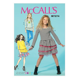 McCall's Children's/Girls' Tops, Dress, Skirt and Leggings M7274 - Sewing Pattern