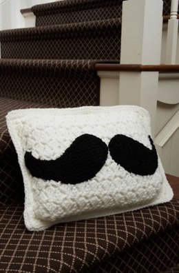 Mustache Pillow in Red Heart Super Saver Economy Solids - LW3686