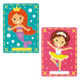 Vervaco Embroidery Kit: Printed Cards: Mermaid and Ballet: Set of 2 - 18.5 x 26cm
