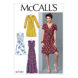 McCall's Misses' Pleated Dresses with Optional Front-Tie M7381 - Sewing Pattern
