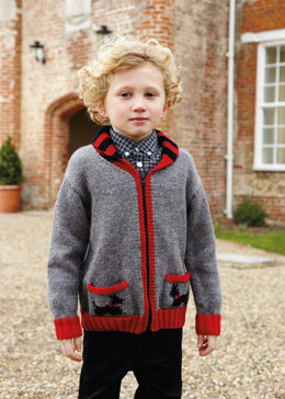"""Scottie Dog Jacket"" - Jacket Knitting Pattern For Boys in Debbie Bliss Blue Faced Leicester DK - BFLDK12"