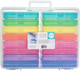"""We R Memory Keepers We R Craft & Photo Translucent Plastic Storage - 15""""X12""""X5"""", W/16 Mini Cases"""