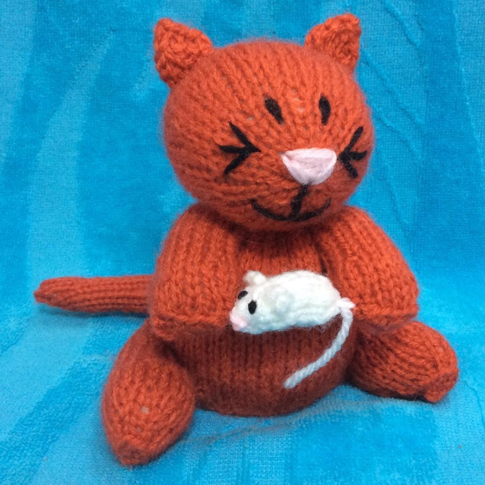 Marmaduke the Mouse Cat Choc Orange Cover / Toy Knitting pattern by Andrew Lucas