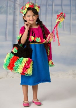 Flower Princess Dress & Cape in Red Heart Super Saver Economy Solids - LW4448