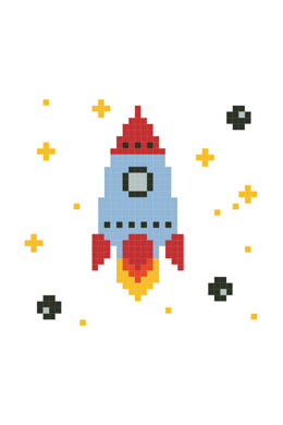 Rocket Ship in DMC - PAT0240 - Downloadable PDF