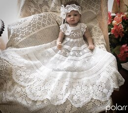 Scroll and Floral christening dress