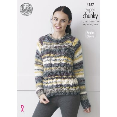 Cabled Raglan Sweater With Long & Short Sleeves in King Cole Gypsy - 4357 - Downloadable PDF