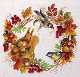 PANNA Autumn Woodland Wreath Cross Stitch Kit - 26.5cm x 24.5cm