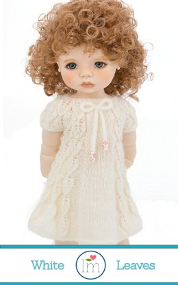 White Leaves Dress for 18 inch bjd dolls by Meadowdolls. Doll Clothes Knitting Pattern.