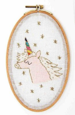 Rico Unicorn Cross Stitch Kit with Hoop - 13cm x 21cm