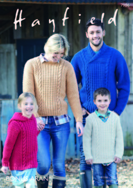 Family Sweaters in Hayfield Bonus Aran with Wool - 7986 - Downloadable PDF