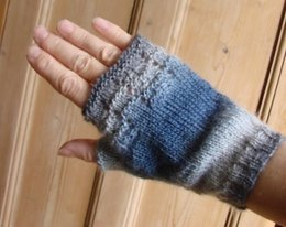 Plain fingerless mitts with top lacy panel