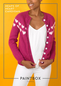 """Heaps of Heart Cardigan"" - Cardigan Knitting Pattern For Women in Paintbox Yarns Wool Mix Aran"