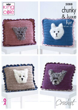 Crochet Cushions With Dog Motif Crochet in King Cole Big Value Chunky, Luxe Fur & Big Value Super Chunky - 5088pdf - Downloadable PDF