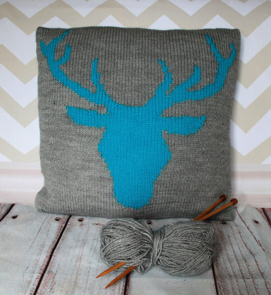 Stag Head Cushion Cover Knitting pattern by Ruby and the Foxes