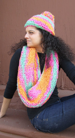 Hat and Scarf in Plymouth Yarn Encore Boucle Colorspun - F341 - Downloadable PDF