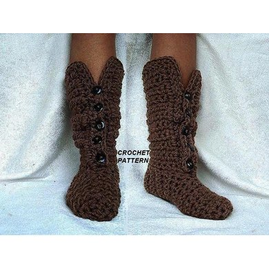 669 BUTTON Front crochet boot slippers, age 1 to adult