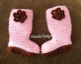 """18"""" DOLL FLOWER KNIT BOOTS"""