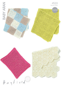 Baby Blankets in Hayfield Baby Aran - 4533 - Downloadable PDF