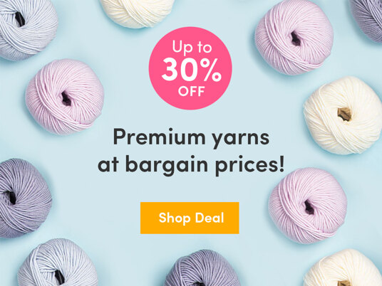 Up to 30 percent off off luxury yarn!