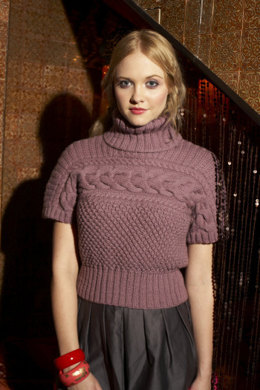 Cable & Blackberry Tank in Debbie Bliss Blue Faced Leicester Aran - FZ03