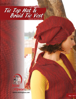 Tie Top Hat & Braid Tie Vest Set in Misti Alpaca Tonos Worsted - 1020 - Downloadable PDF