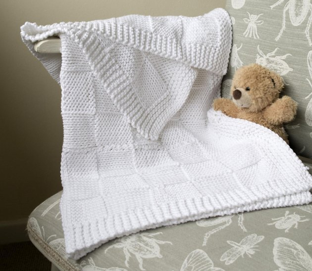 Easy Baby Blanket Basket Weave Pattern Knitting Pattern
