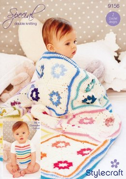 Daisy Square Blanket and Baby Bib in Stylecraft Special DK and Classique Cotton DK - 9156