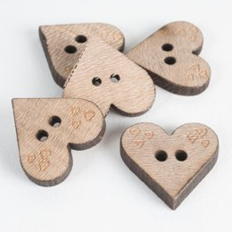 Heart-Shaped Wooden Buttons